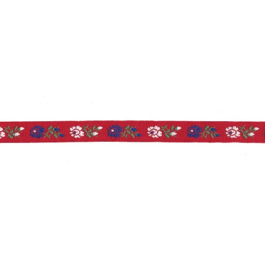 "Red, White and Blue Floral Folk Costume Trim ~ Czech Republic ~ 1/2"" wide ~ Cotton"