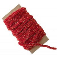 Red & Gold Chenille Sparkle Cording ~ 5 yards