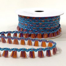 Fancy Tassel Fringe Trim in Purple, Turquoise & Orange