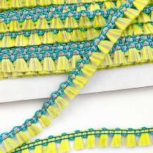 """Fancy Tassel Fringe Trim in Yellow, Aqua & Lavender ~ 1/2"""" wide"""