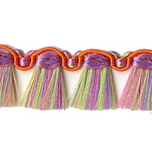 Fancy Tassel Fringe Trim in Green, Lavender & Orange