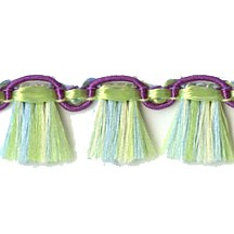 Fancy Tassel Fringe Trim in Green, Aqua & Eggplant