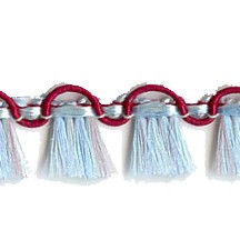 Fancy Tassel Fringe Trim in Burgundy, Aqua & Lilac