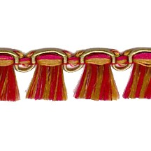 Fancy Tassel Fringe Trim in Cranberry, Olive & Pink
