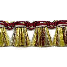 Fancy Tassel Fringe Trim in Burgundy, Olive & Sage