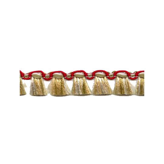 Fancy Tassel Fringe Trim in Red, Ivory & Sage