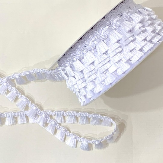 Fancy Tassel Fringe Trim in White