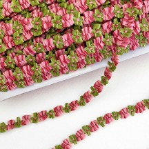 """Pink and Green Floral Ribbon Trim ~ 3/8"""" wide"""
