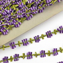 """Purple and Green Floral Ribbon Trim ~ 5/8"""" wide"""