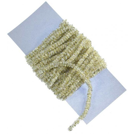 Ivory & Gold Chenille Sparkle Cording ~ 5 yards