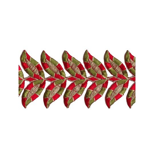 "Green and Red Leaf Embroidered Cutwork Trim ~ India ~ 3"" wide"