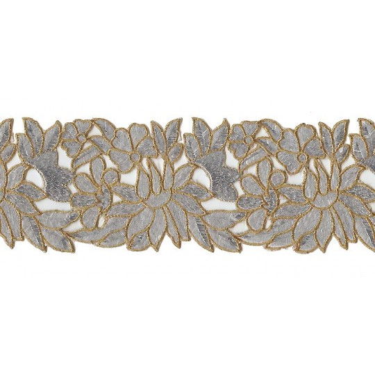 "Silver and Gold Metallic Embroidered Cutwork Trim ~ India ~ 3-3/4"" wide"