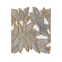 """Silver and Gold Metallic Embroidered Cutwork Trim ~ India ~ 3-3/4"""" wide"""
