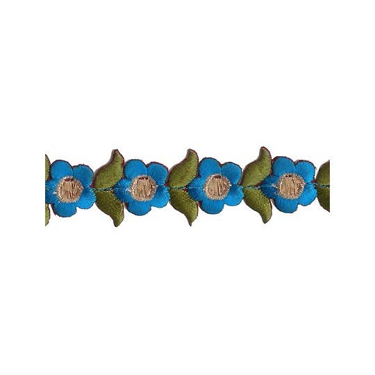 """Small Blue Flower Embroidered Cutwork Trim ~ India ~ 1"""" wide"""