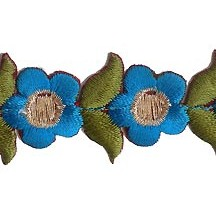 "Small Blue Flower Embroidered Cutwork Trim ~ India ~ 1"" wide"