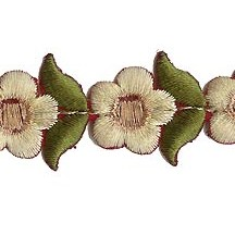 """Small Pale Yellow Flower Embroidered Cutwork Trim ~ India ~ 1"""" wide"""