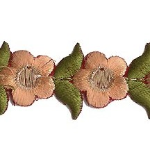 "Small Peach Flower Embroidered Cutwork Trim ~ India ~ 1"" wide"
