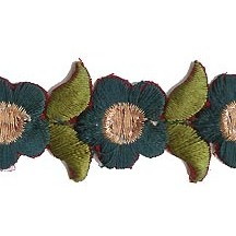 "Small Emerald Green Flower Embroidered Cutwork Trim ~ India ~ 1"" wide"