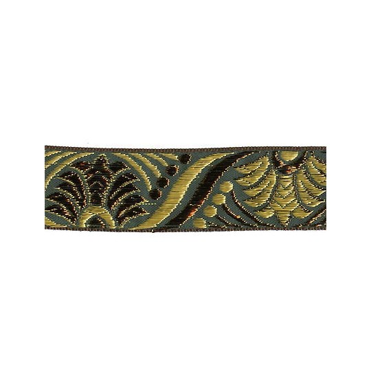 "Green, Gold and Bronze Lotus Pattern Metallic Jacquard Trim ~ India ~ 1-1/4"" wide"