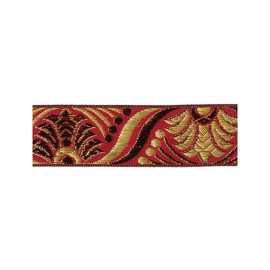 "Red, Gold and Bronze Lotus Pattern Metallic Jacquard Trim ~ India ~ 1-1/4"" wide"