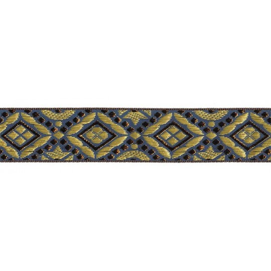 "Blue, Gold and Bronze Geometric Pattern Metallic Jacquard Trim ~ India ~ 1-1/4"" wide"