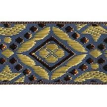 "Blue, Gold and Bronze Geometric Pattern Metallic Jacquard Trim ~ India ~ 1-1/4"" wide"