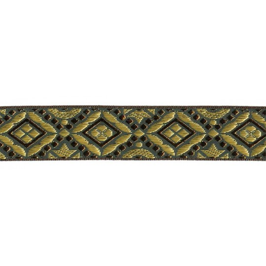 "Green, Gold and Bronze Geometric Pattern Metallic Jacquard Trim ~ India ~ 1-1/4"" wide"