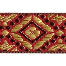 "Red, Gold and Bronze Geometric Pattern Metallic Jacquard Trim ~ India ~ 1-1/4"" wide"