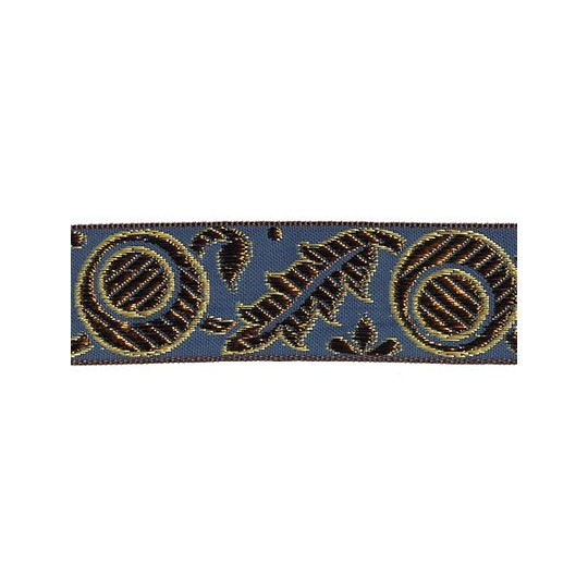 "Blue, Gold and Bronze Autumn Leaf Pattern Metallic Jacquard Trim ~ India ~ 1-1/4"" wide"