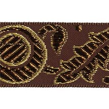 "Brown, Gold and Bronze Autumn Leaf Pattern Metallic Jacquard Trim ~ India ~ 1-1/4"" wide"