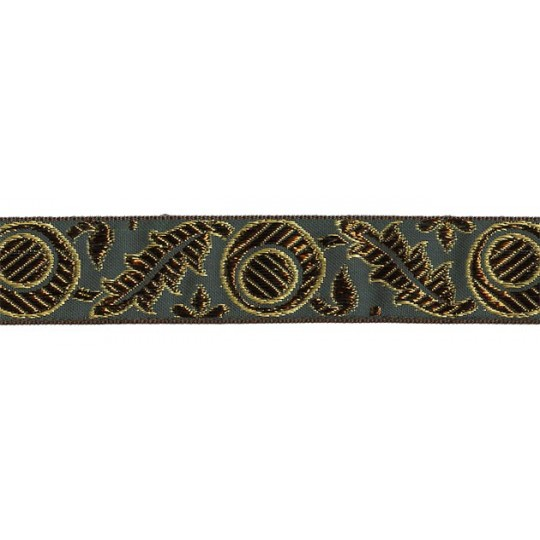 "Green, Gold and Bronze Autumn Leaf Pattern Metallic Jacquard Trim ~ India ~ 1-1/4"" wide"
