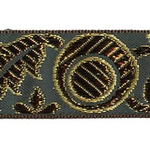 "Green, Gold and Bronze Autumn Leaf Pattern Metallic Jacquard Trim ~ India ~ 1-1/4"" wide"