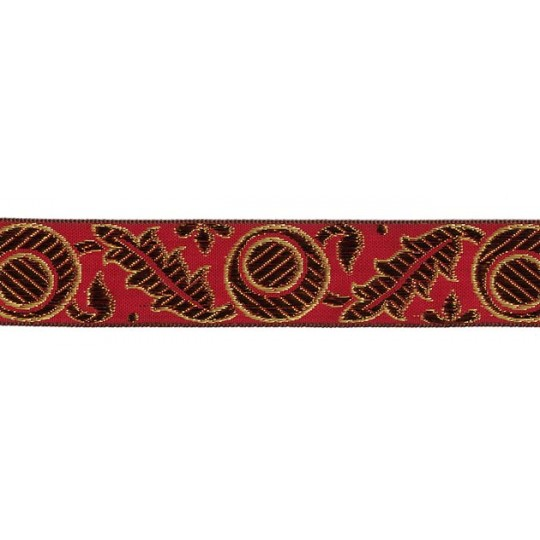 "Red, Gold and Bronze Autumn Leaf Pattern Metallic Jacquard Trim ~ India ~ 1-1/4"" wide"