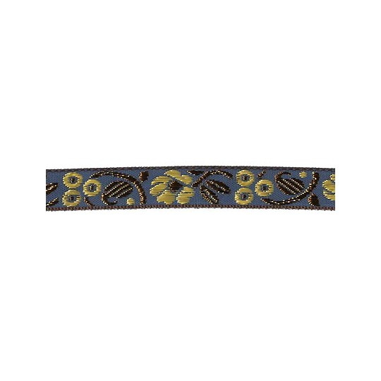 "Blue, Gold and Bronze Floral Metallic Jacquard Trim ~ India ~ 5/8"" wide"