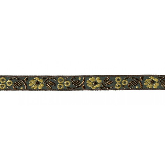 "Green, Gold and Bronze Floral Metallic Jacquard Trim ~ India ~ 5/8"" wide"