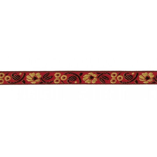 "Red, Gold and Bronze Floral Metallic Jacquard Trim ~ India ~ 5/8"" wide"