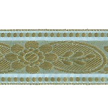 "Light Blue and Gold Metallic Floral Sari Jacquard Trim ~ India ~ 1-1/2"" wide"