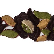 "Black Flower Embroidered Cutwork Trim ~ India ~ 1-1/4"" wide"