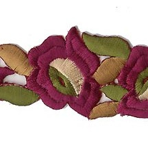 "Burgundy Flower Embroidered Cutwork Trim ~ India ~ 1-1/4"" wide"