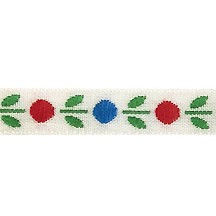 "Red, White and Blue Dot Floral Folk Costume Trim ~ Vintage Japan ~ 3/8"" wide ~ Cotton/Poly"