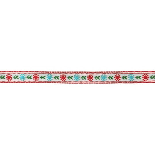 "Red and Light Blue Posy Floral Folk Costume Trim ~ Vintage Japan ~ 7/16"" wide ~ Poly"