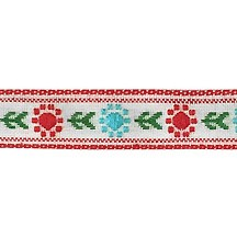 "Red and Light Blue Posy Floral Folk Costume Trim ~ Vintage Japan ~ 7/16"" wide ~ Poly"