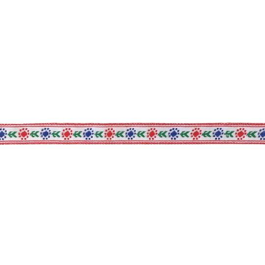 "Red and Royal Blue Posy Floral Folk Costume Trim ~ Vintage Japan ~ 7/16"" wide ~ Poly"