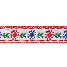 "Red and Royal Blue Posy Floral Folk Costume Trim ~ Vintage Japan ~ 7/16"" wide ~ Poly"