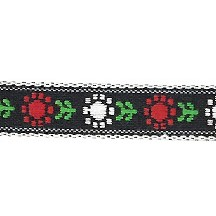 "Red and White Posy Floral Folk Costume Trim ~ Vintage Japan ~ 7/16"" wide ~ Poly"