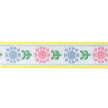 "Pastel Posy Floral Folk Costume Trim ~ Vintage Japan ~ 7/16"" wide ~ Poly"