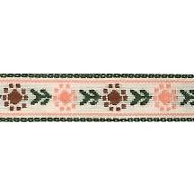 "Earthtone Posy Floral Folk Costume Trim ~ Vintage Japan ~ 7/16"" wide ~ Poly"