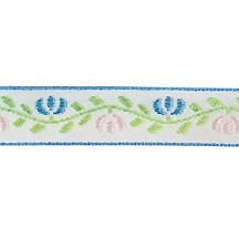 "Light Blue and Pink Floral Folk Costume Trim ~ Vintage Japan ~ 1/2"" wide ~ Poly"