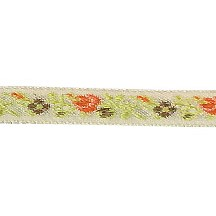 "Earthtone Floral Folk Costume Trim ~ Vintage Japan ~ 3/8"" wide ~ Poly"