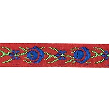"Red and Blue Floral Folk Costume Trim ~ Vintage Japan ~ 3/8"" wide ~ Poly"